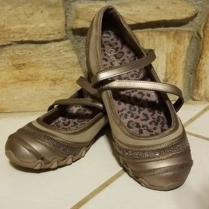 Leather/Suede/Sequin Taupe Skechers Mary Jane's
